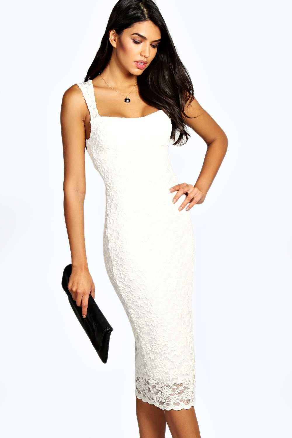 Jess Lace Sweetheart Midi Dress