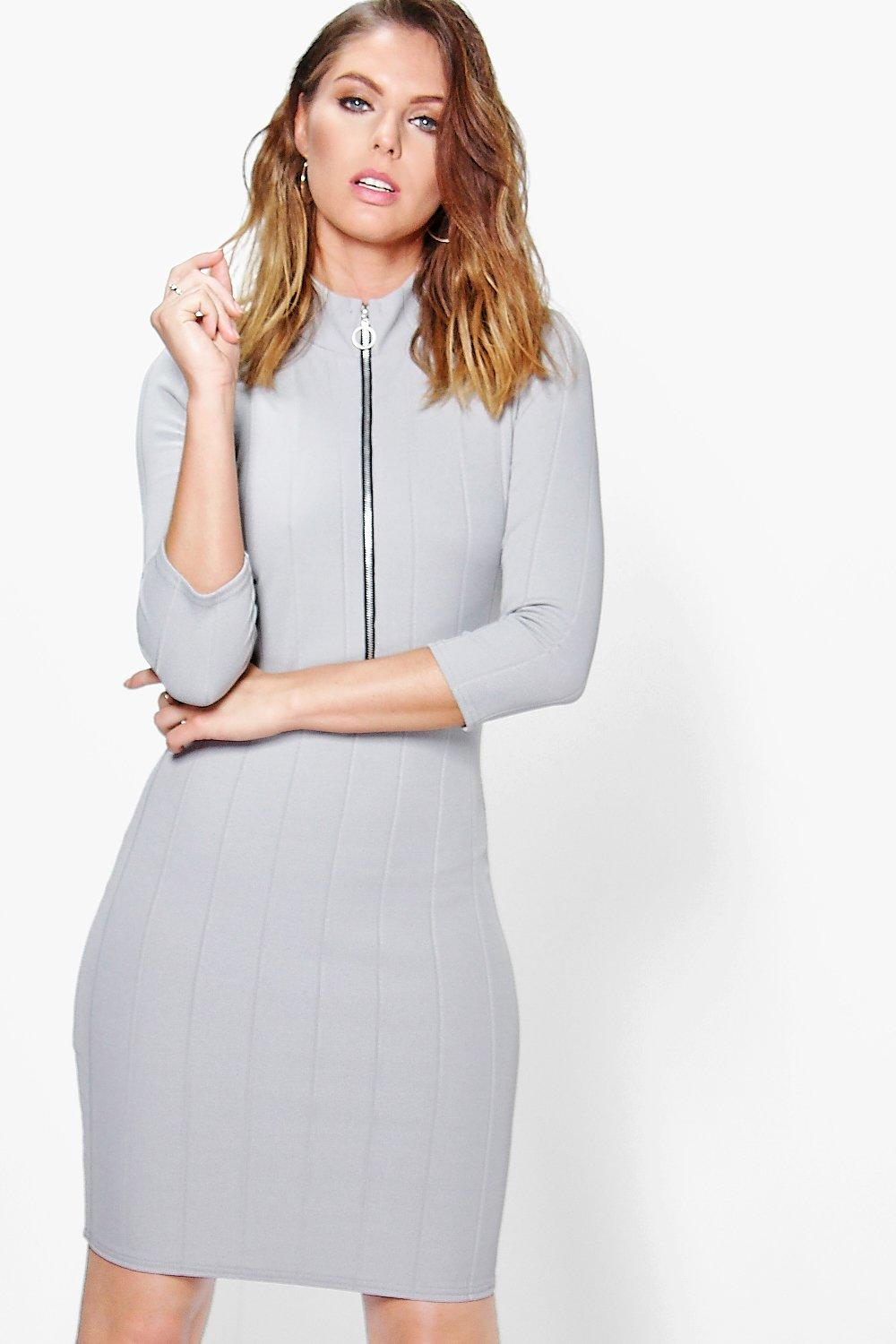 Tara Zip Turtle Neck Rib Bodycon Dress