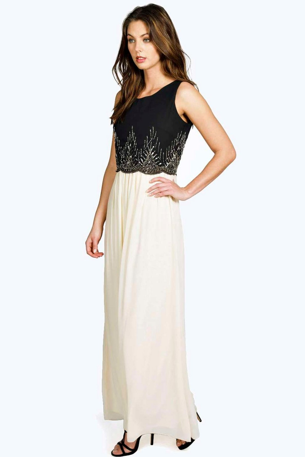 Boohoo Boutique Embellished Chiffon Maxi Dress Cheap Sale Fashionable Free Shipping Great Deals With Mastercard For Sale R65BY9