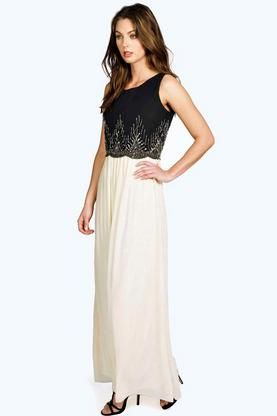 Boutique Kaya Embellished Chiffon Maxi Dress