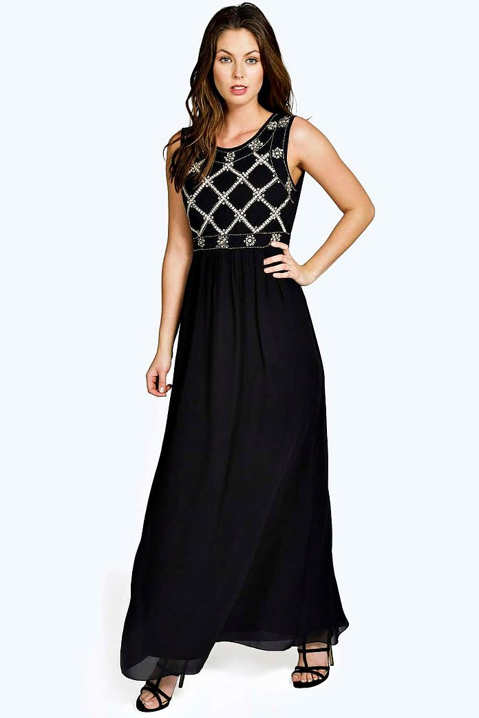 Boutique Louise Embellished Top Chiffon Maxi Dress