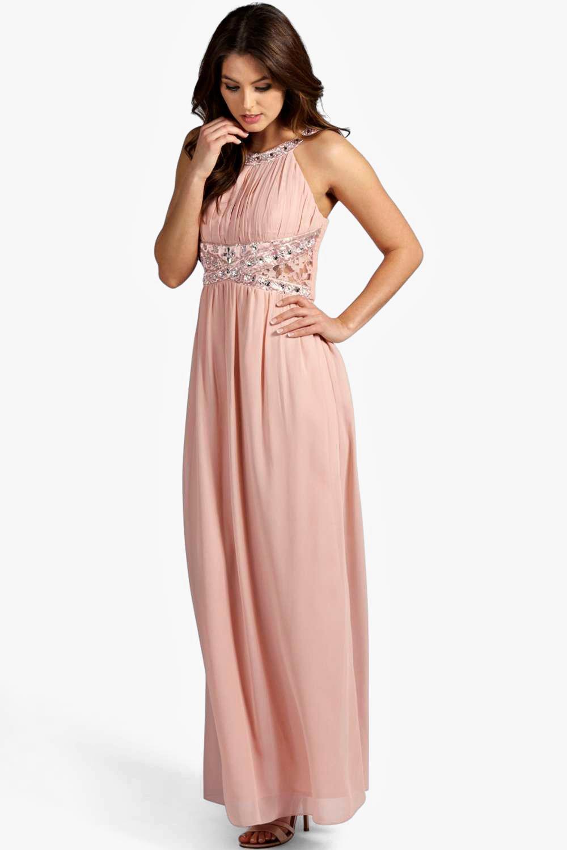 vestido largo de chifón con bordados y detalle de encaje katie | Boohoo