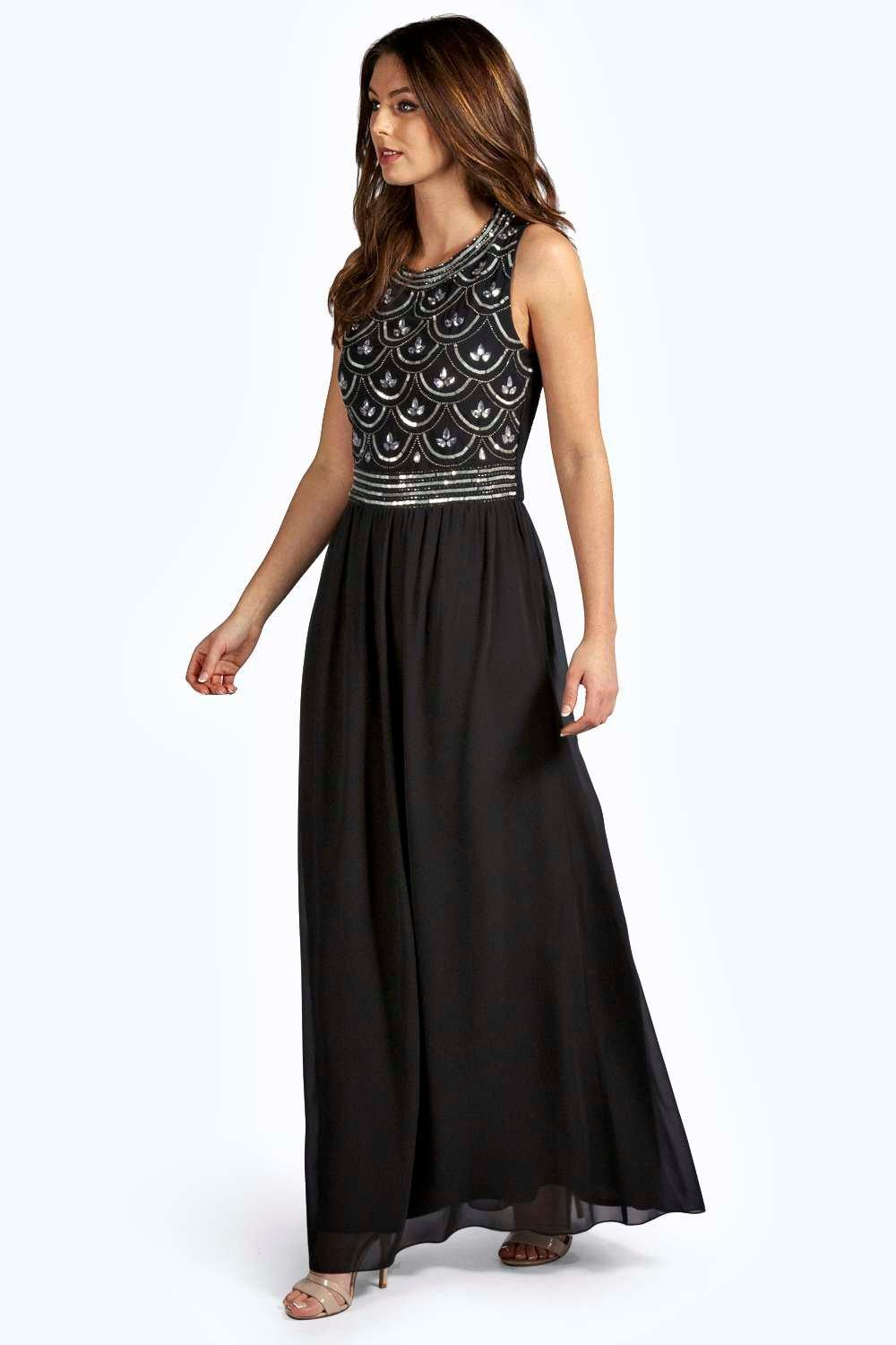 Boutique Crina Embellished Top Chiffon Maxi Dress | Boohoo