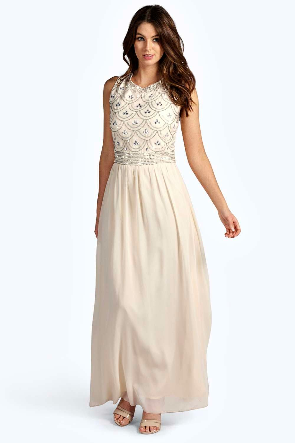 Boutique Crina Embellished Top Chiffon Maxi Dress