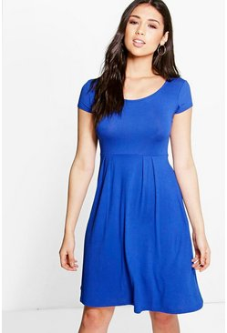 Claudia Jersey Cap Sleeve Skater Dress