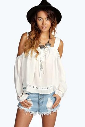 Teresa Open Shoulder Crochet Trim Peasant Blouse