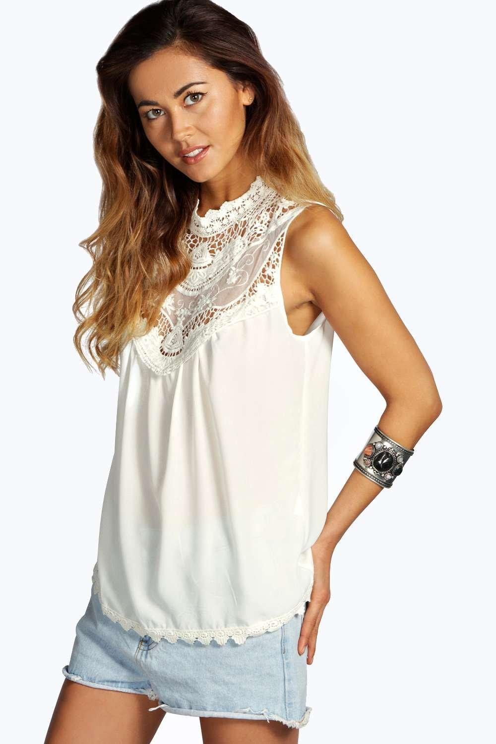 Julia Crochet Trim High Neck Sleeveless Blouse