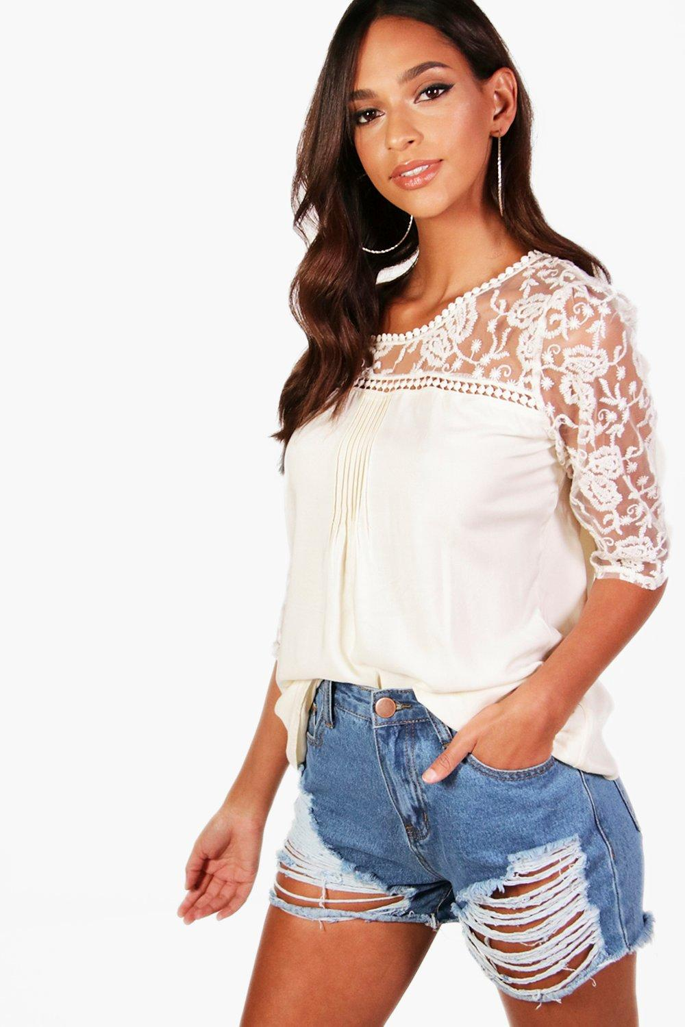 Leila Crochet Panel 3/4 Sleeve Blouse