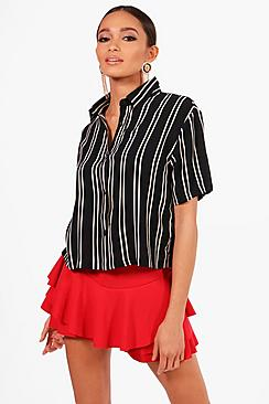 boohoo ivy striped short sleeve boxy shirt