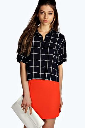 Catherine Grid Print Boxy Short Sleeve Shirt