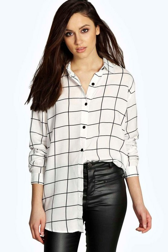 Diane Grid Print Oversized Long Sleeve Shirt