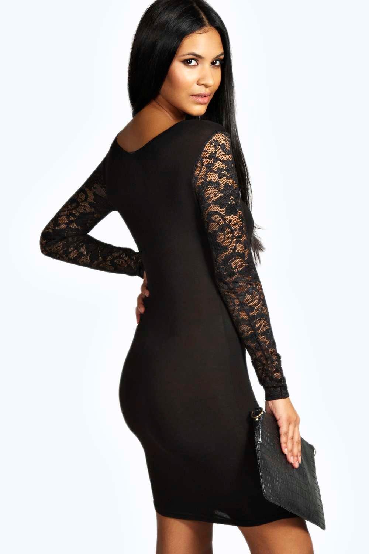 Susie Lace Sleeve Bodycon Dress | Boohoo