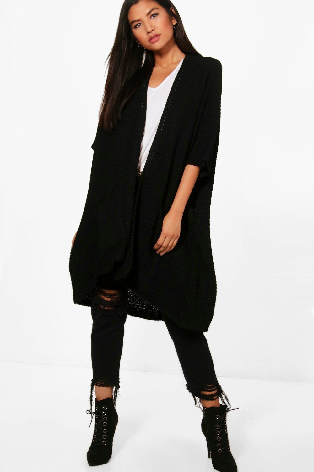 boohoo Flora Pocket Cape Cardigan - black $35.00 AT vintagedancer.com