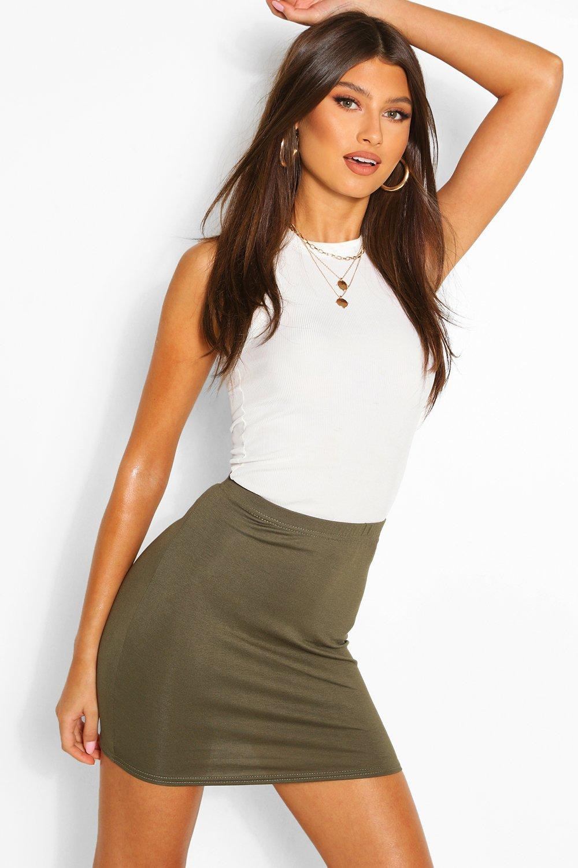 Basic Bodycon Mini Skirt  khaki