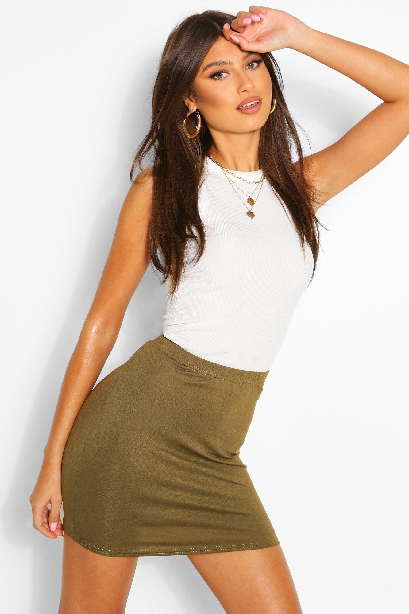 Womens Schlichter Minirock aus Jersey - olivgrün - 36, Olivgrün - Boohoo.com