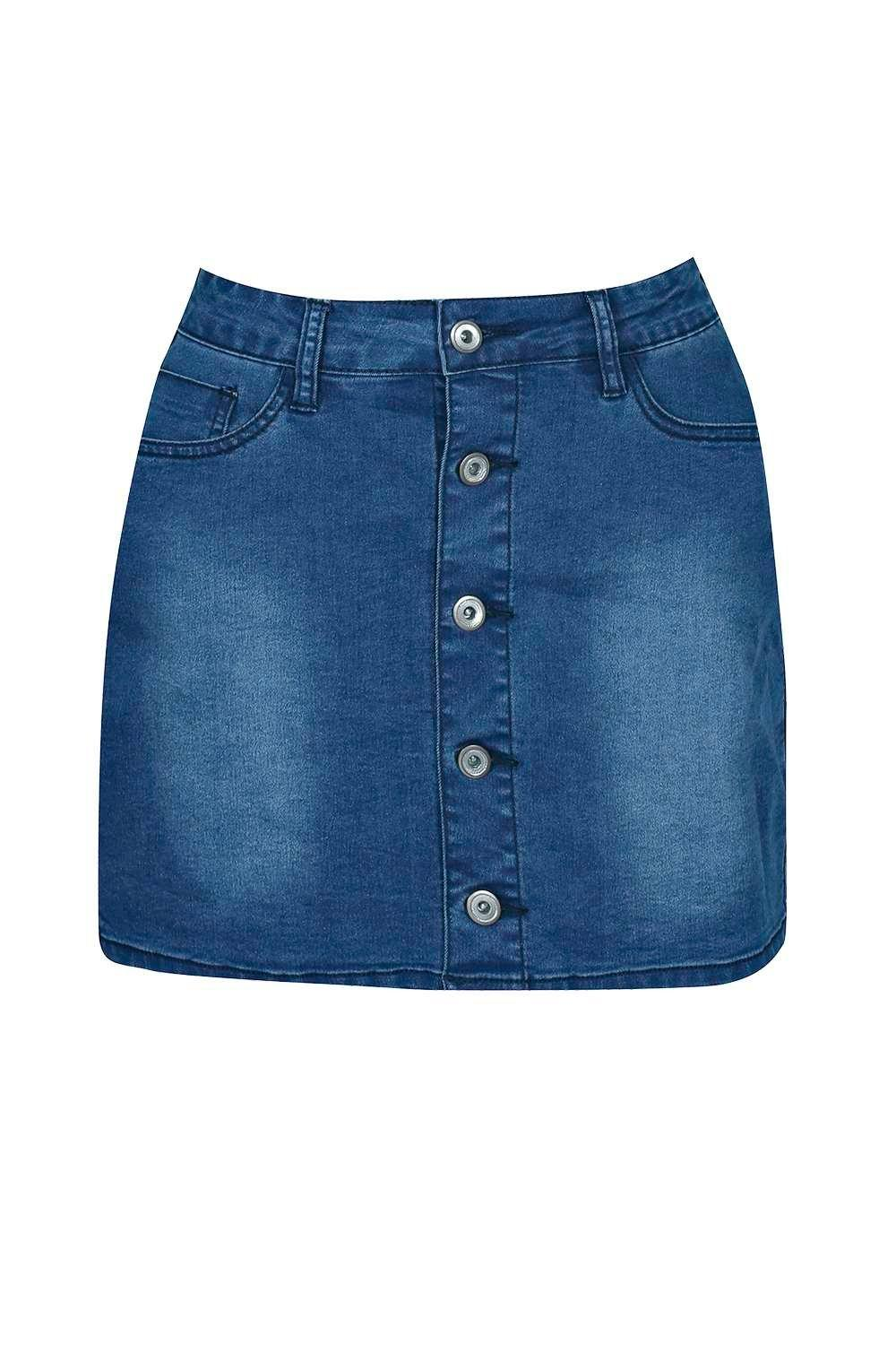 Elsie Denim Button Through Mini Mid Blue Skirt