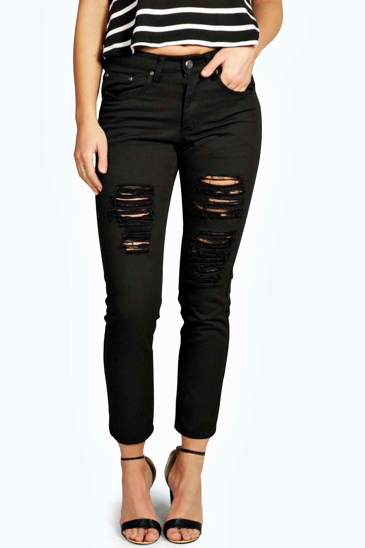 Sara Ripped Boyfriend Black Jeans | Boohoo