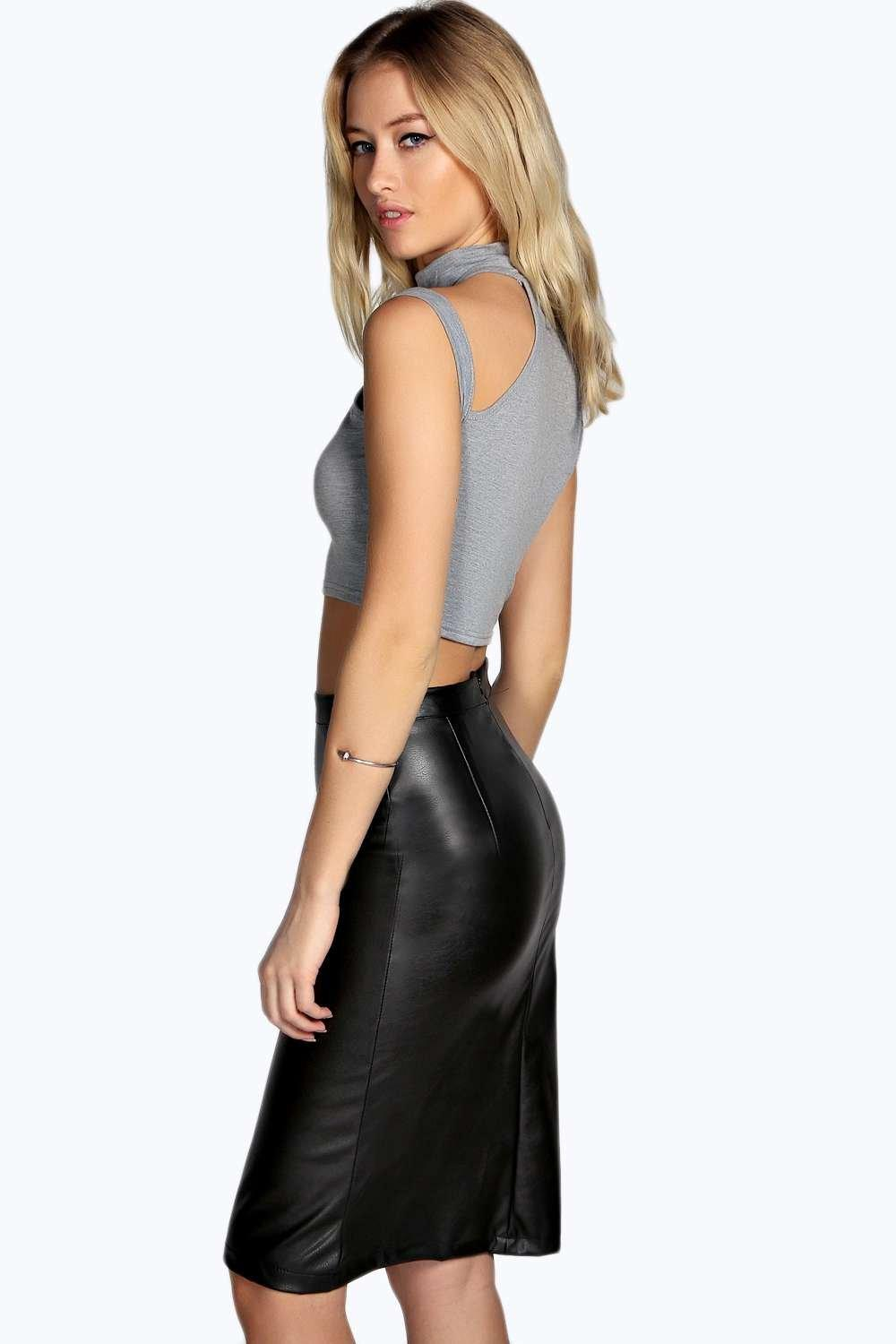 Fake Leather Pencil Skirt