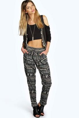 Rita Elephant Print Tapered Trousers