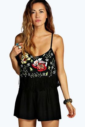Hazel Embroidered Frill Strappy Fringed Playsuit
