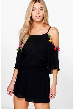 Kizzy Pom Pom Trim Open Shoulder Playsuit