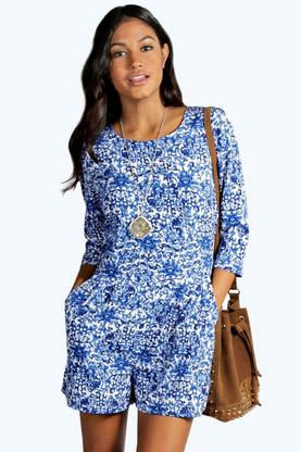 Andie Blue Baroque Print 3/4 Sleeve Playsuit