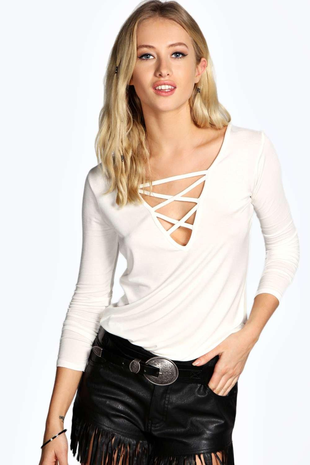 Lydia Lattice Detail Long Sleeve Top