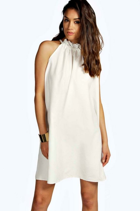Carly Woven Drawstring Neck Trapeze Dress