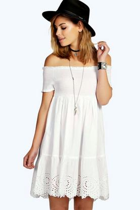 Anna Broderie Off The Shoulder Dress