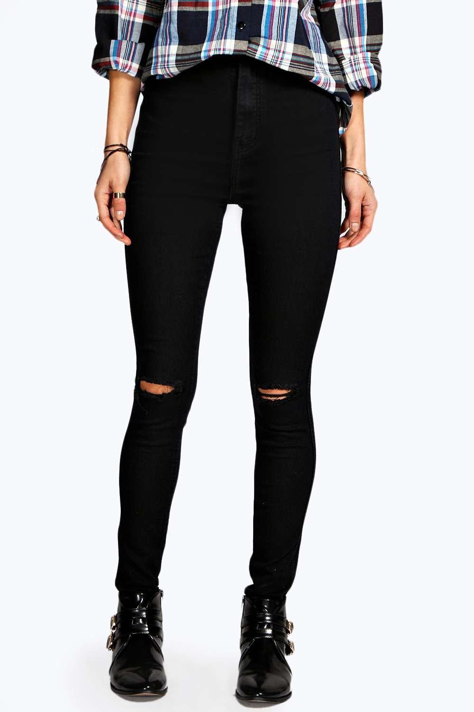 Lara Ripped Knee Skinny Tube Jeans | Boohoo