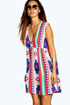 Sophia Large Aztec Woven Smock Dress