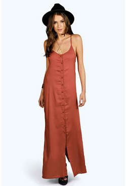 Fiona Button Through Cami Maxi Dress