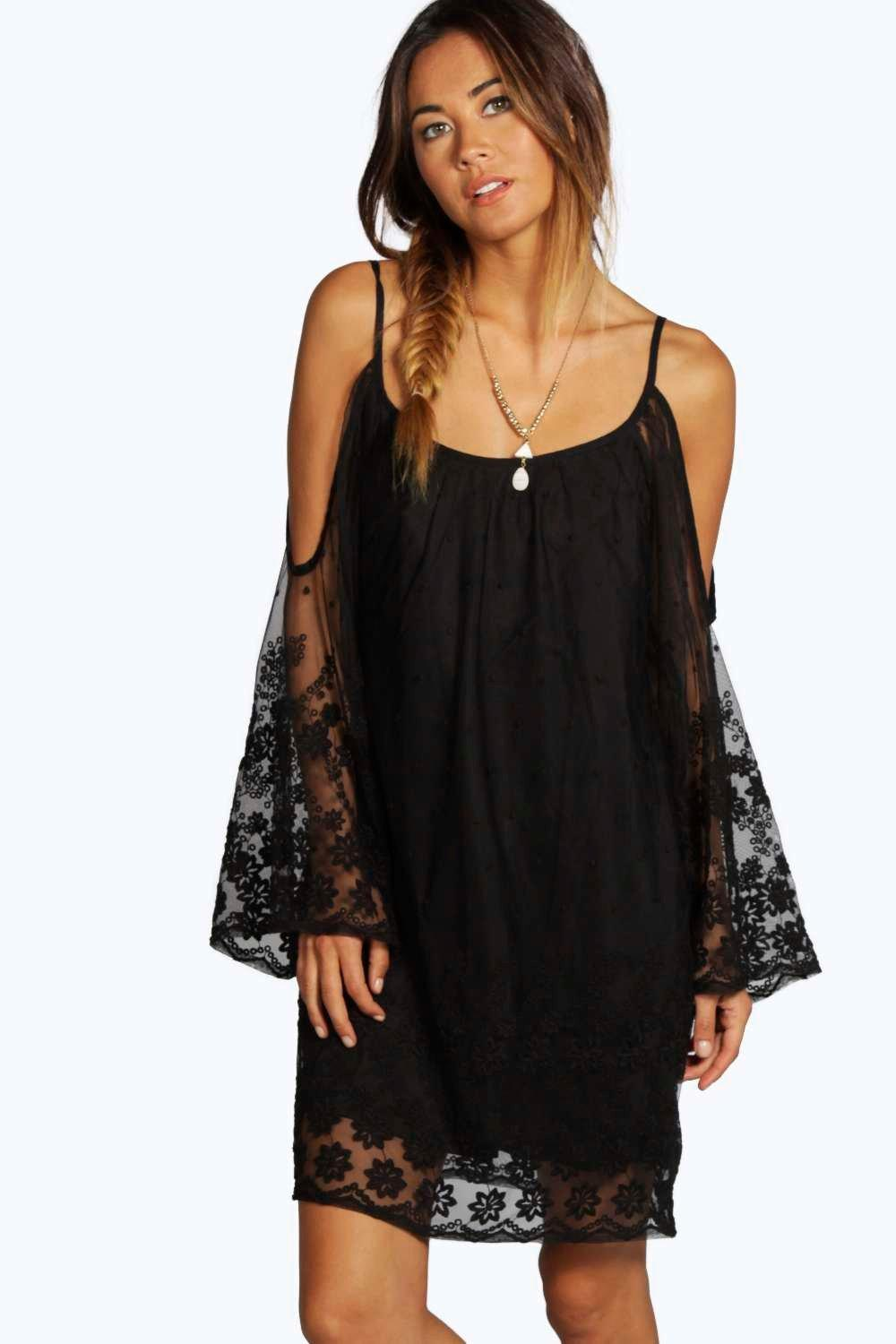 Cameron Lace Open Shoulder Dress