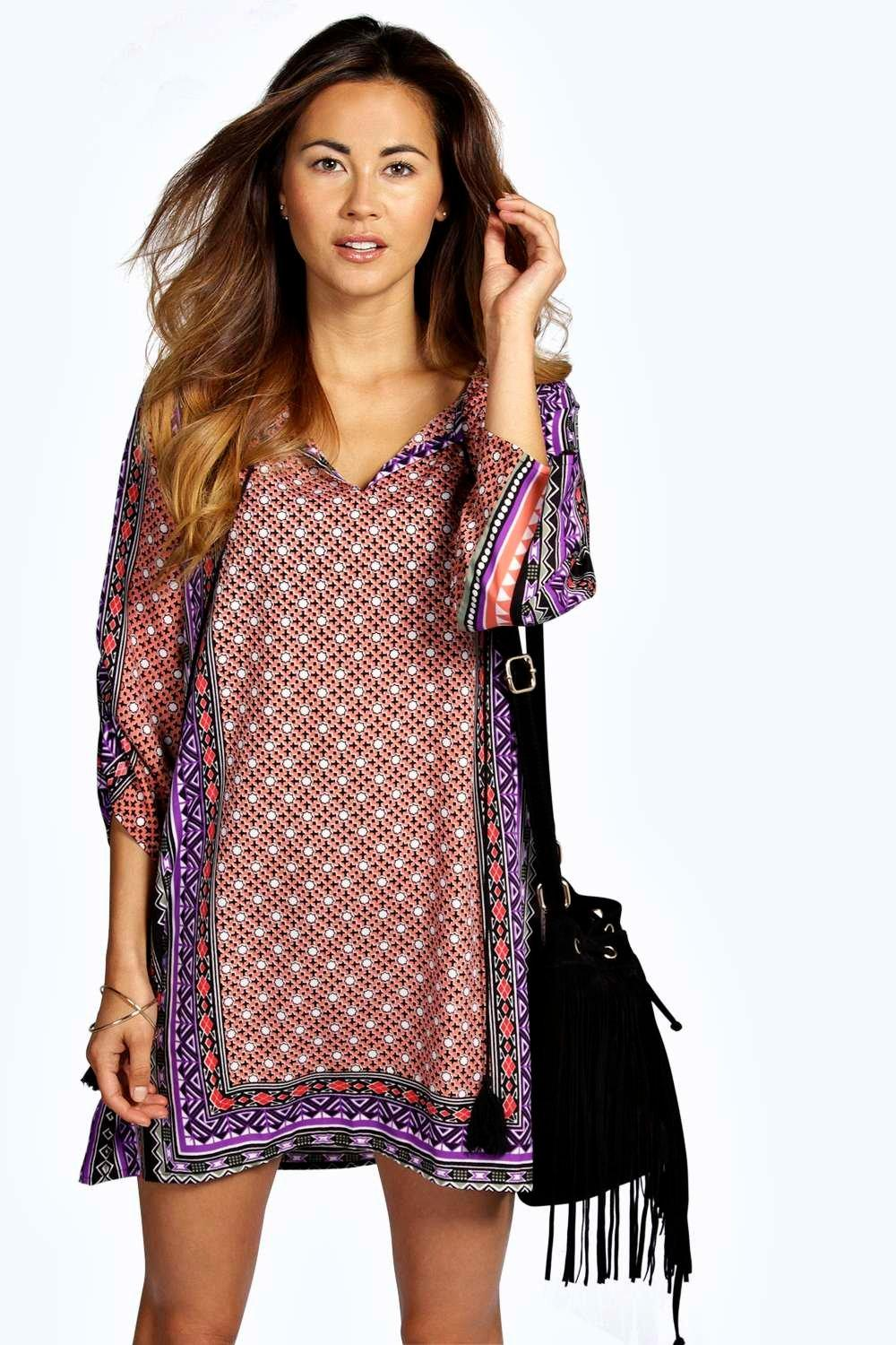 Betty Woven Print Tassle Shift Dress