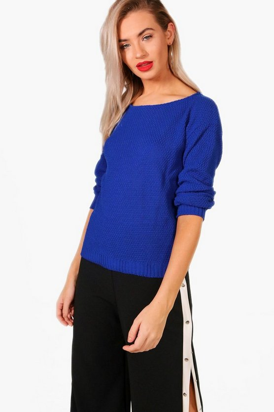 Hallie Round Neck Moss Stitch Jumper