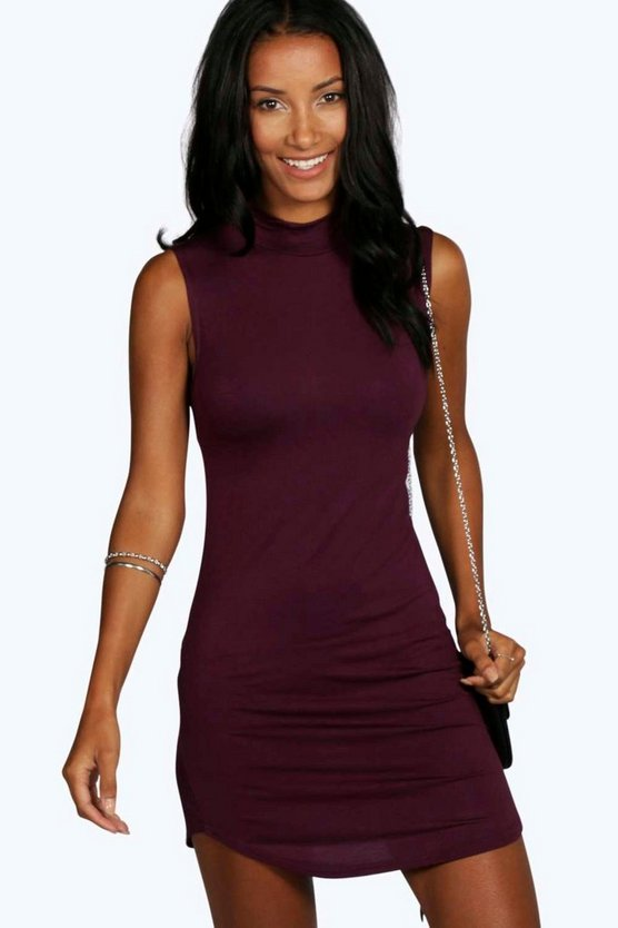 Mel High Neck Curved Hem Bodycon Dress