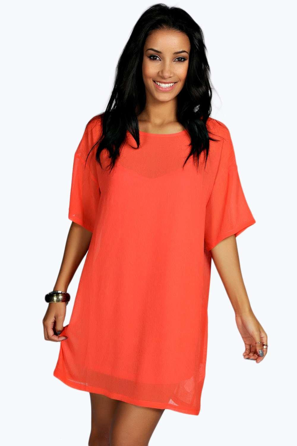 Lily Textured Woven TShirt Dress