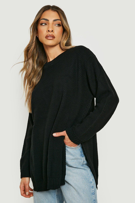Sicle Split Moss Stitch Tunic Jumper  black