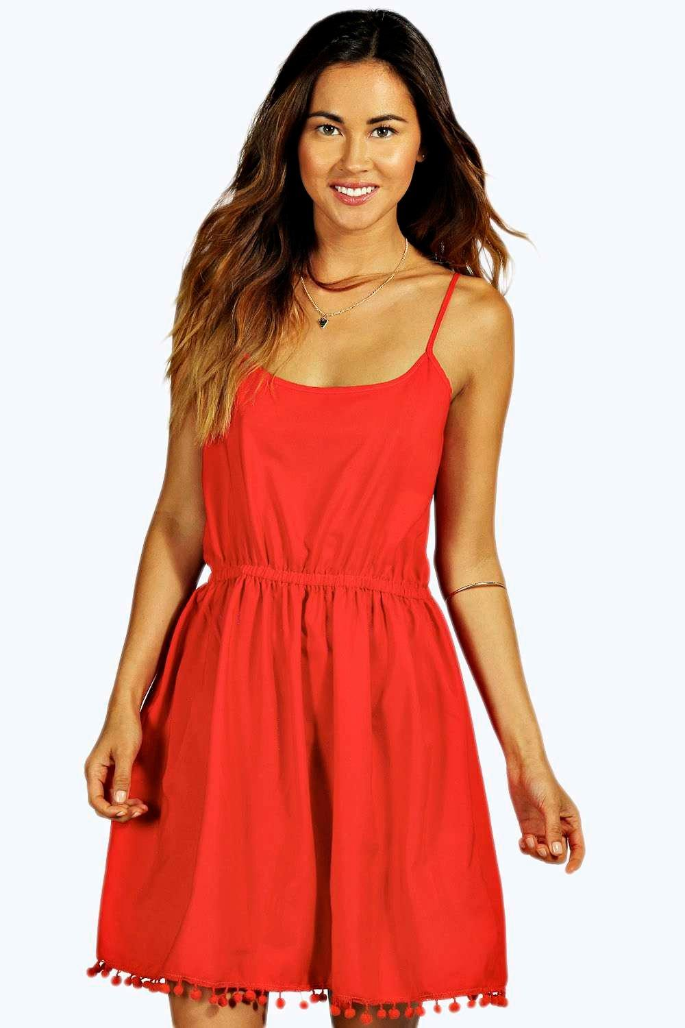 Angelica Pom Pom Strappy Sundress