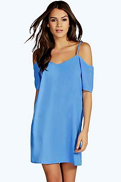 Mandy Strappy Woven Cold Shoulder Dress