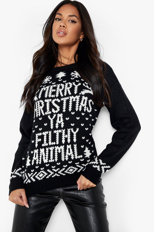 Merry Christmas Ya Filthy Animal Jumper  black
