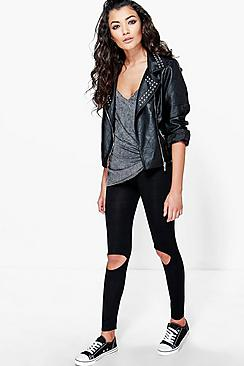 boohooLola Ripped Knee Basic Jersey Leggings