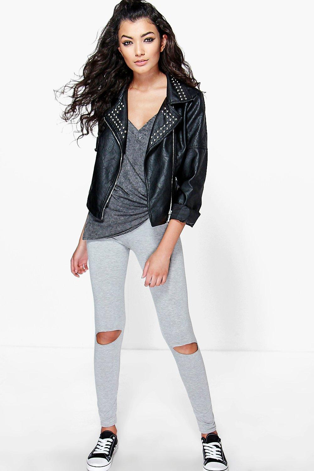 Lola Ripped Knee Basic Jersey Leggings