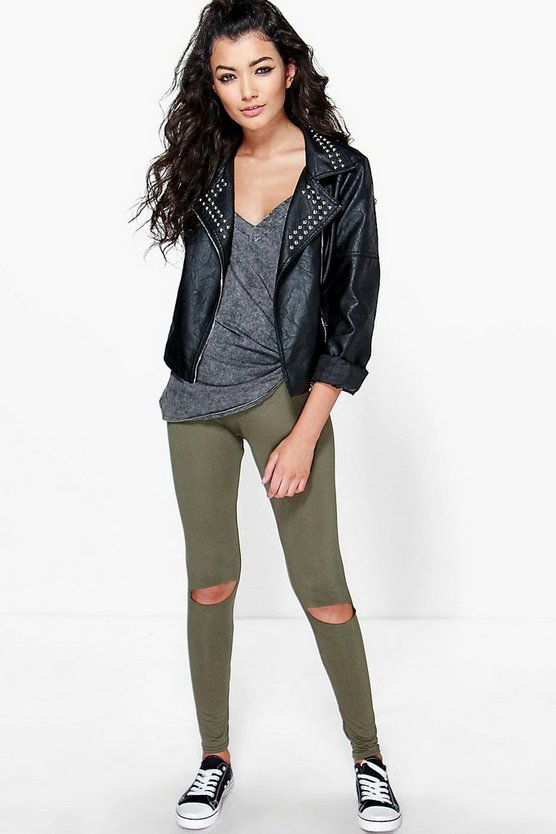 Ripped Knee Basic Jersey Leggings
