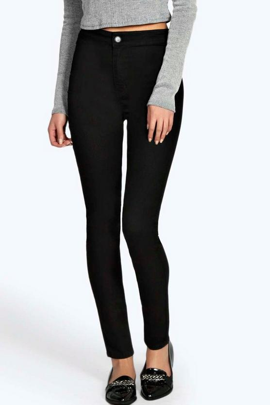 lara skinny high waist denim tube jeans boohoo. Black Bedroom Furniture Sets. Home Design Ideas