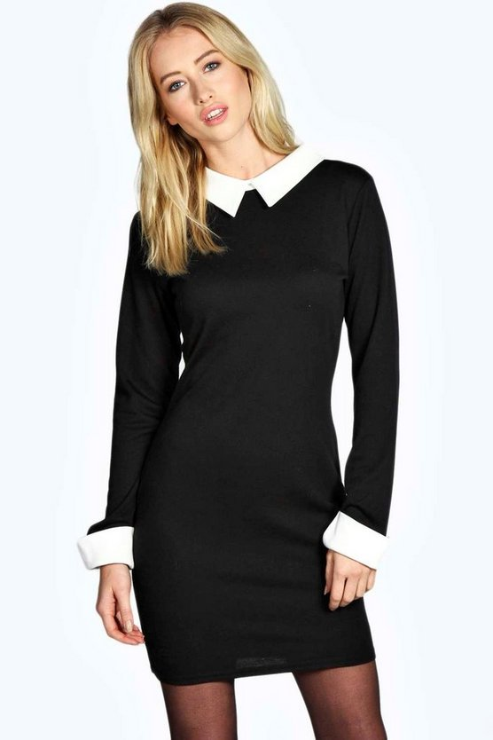 Ania Long Sleeve Collar Bodycon Dress