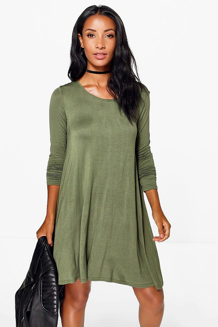 Florance Long Sleeve Scoop Neck Swing Dress
