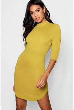 Lauren 3/4 Sleeve Curved Hem Bodycon Dress