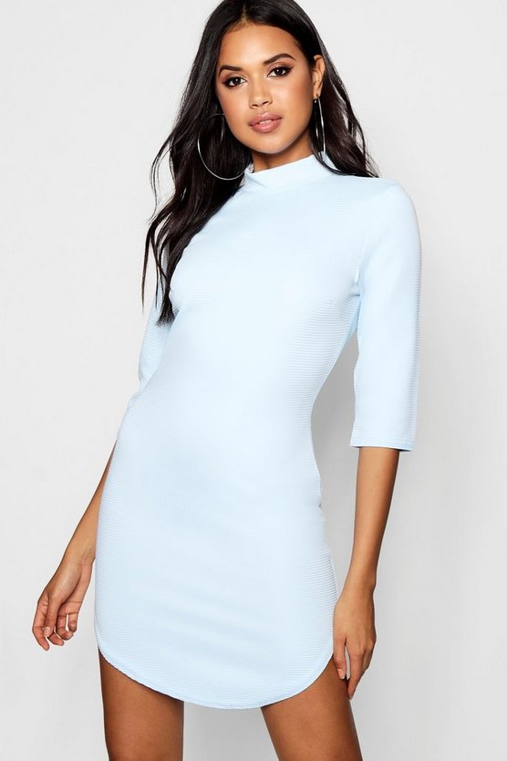 Lauren Heavy Rib Curved Hem Bodycon Dress