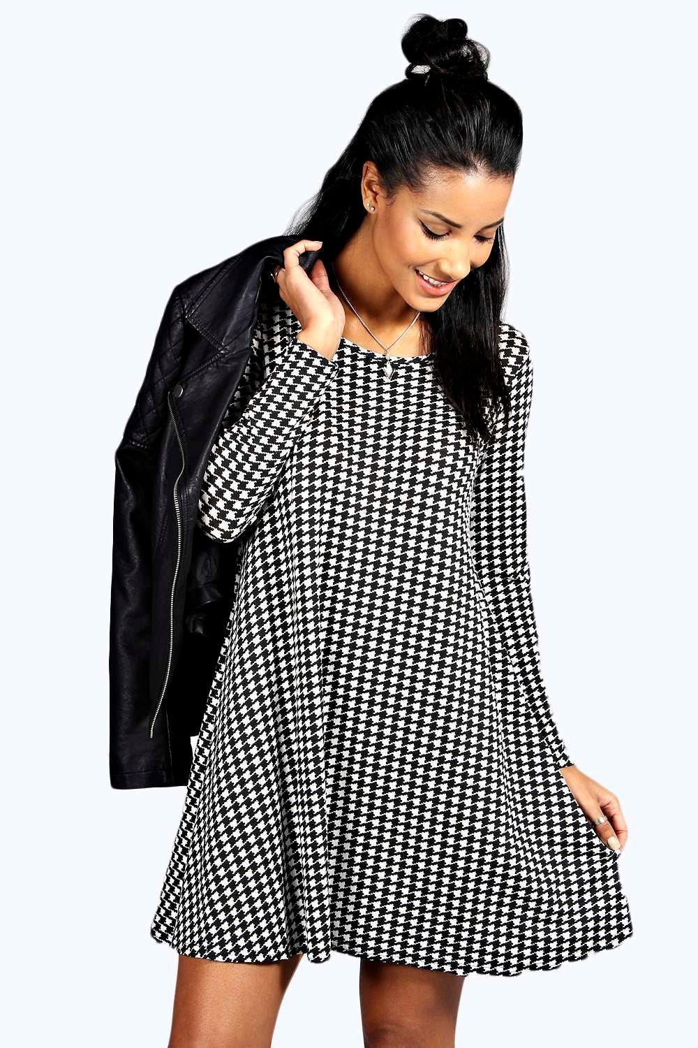 Holly Dogtooth Long Sleeve Swing Dress